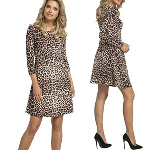 Maternity Dress Casual Women Mother Pregnant Leopard Skirt Maternity Breastfeeding Shirt