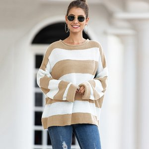 2019 autumn and winter new European and American women's explosion models round neck sweater female striped sweater mixed color