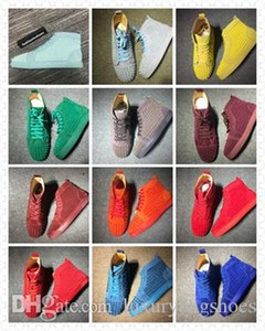 fashioninshoes الصغار المسامير أورلو الرجال شقة الجلد المدبوغ جلد أحمر أسفل حذاء رصع أحمر وحيد الأحذية المسامير الملونة أوريلين شقة 35