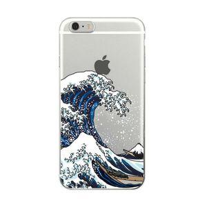 아이폰 7plus 7 들어 가나가와 소프트 Tpu 전화 케이스 커버 오프 그레이트 웨이브 6plus X XS 맥스