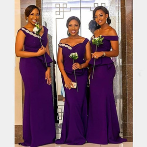 purple Mermaid Bridesmaid Dresses Off Shoulder Sweep Train Garden Plus Size Wedding Guest Evening Party Gowns Maid of Honor Dresses