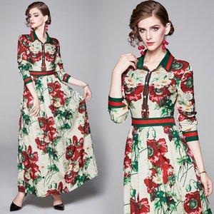 2020 Kadın Çiçek Şık Elbise Uzun Kollu Yaka Boyun Pist Bayanlar Pileli Elbise İnce Artı boyutu Baskılı Ofisi Tasarımcı Elbise Tasarımları