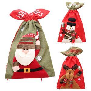 Christmas Non-Woven Santa Claus Gift Present Bag Sack Cute 3D Cartoon Reindeer Snowman Doll Drawstring Candy Holder Home Decor