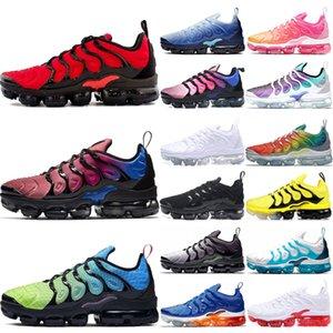 Nike air vapormax airmax TN plus Coussin AirvapormaxTNChaussures de course pour Hommes Femmes Triple Noir Blanc Rose Psychic Volt hommes de sport Chaussures de sport