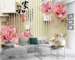 Abitudine 3D Wallpaper Fiore Bella Fiori Swan Lake personalizzato romantico seta murale