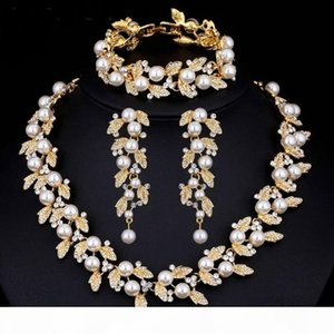 luxury designer jewelry sets wedding jewelry sets for women Pearl Bridal Jewelry Sets Silver Gold-Color Necklace Set Wedding