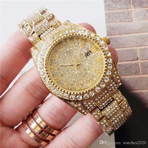mulheres negócio do diamante relógios homens relógios de grife relógio de pulso Rodada completa anel de diamante com Roman marca de hora numeral congelado para fora Assista Data