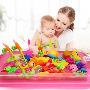22 Pcs set Children Boy Girl Fishing Toy Set Suit Magnetic Play Water Baby Toys Fish Square Hot Gift for Kids