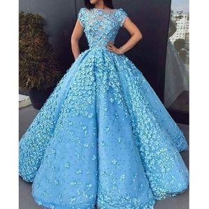 2020 New lindo céu azul 3D Bola Flor Vestidos de luxo pérolas longo Prom Dresses Arábia Árabe Prom mangas curtas Vestidos Longo