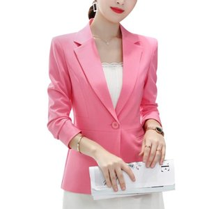 Korean version of the small suit jacket autumn spring new female slim long sleeve office pure color blazer large size suit S-2XL