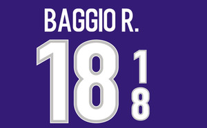1998 Italia namesets fútbol impresión # 18 pegatinas de estampado BAGGIO R. Italia del jugador del club letras impresas impresionados insignias de fútbol de la vendimia