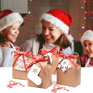 OurWarm 48pcs Kraft Paper Bag Candy Box Десерт Метки Red Ribbons Snow Socks Christmas Party Decoration Новый год 2019