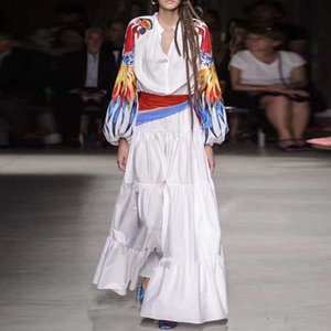 AELESEEN Runway Мода Белое платье 2020 Высокое качество Элегантный лук воротник цветок печати Птицы вышивки Праздник партии Черное платье