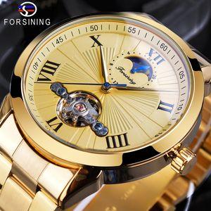 FORSINING الهيكل العظمي للرجال الساعات الذهب الفولاذ المقاوم للصدأ حزام ساعة اليد الميكانيكية الفاخرة التلقائي المرحلة القمر توربيون ووتش SLZe185