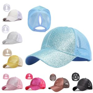 8 color cc hat CC Baseball hat Girl Boy Ponytail Softball hats back hole Pony Tail Glitter Mesh Baseball CC Cap