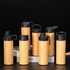 Бамбуковый стакан 350 мл лайнер из нержавеющей стали термос бутылка открытый путешествия спорт вакуумные колбы изолированные бутылки бамбуковая чашка