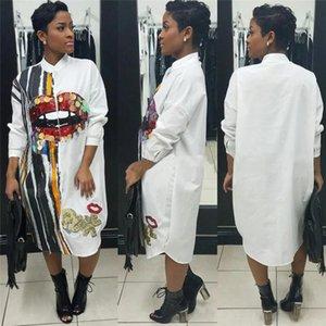 Langarm-Shirt-Kleid-Frauen Herbst Mode Stehkragen Knopf oben Bluse Kleid Damen Street Maxi-Paillette Hemd