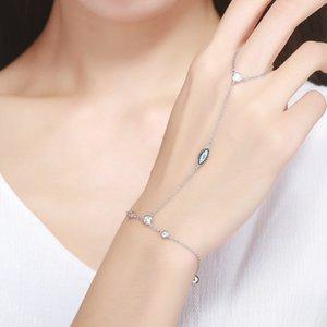 Bamoer nuovo arrivo autentico argento sterling 925 doppio strato magia di bracciali occhio blu per le donne gioielli di lusso regalo scb023 mx190727