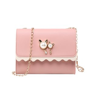 Mujeres Messenger Bags 2019 Cute Cat Pearl Pendant Small Square Bag Leather Pearl Lovely Wild Shoulder Messenger Bag #Zer