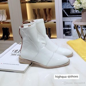 The Newest Fashion designer ladies winter glossy neoprene short heel ankle with Knight boots