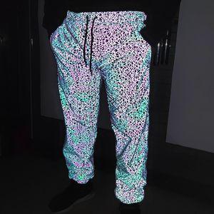 Бесплатная доставка осень зима красочные светоотражающие бегуны брюки мужчины повседневная хип-хоп уличная мужская брюки полосатый отражают свет бегун