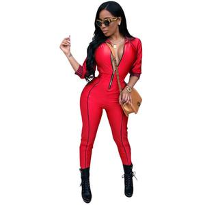 Casual Pagliaccetti Donne Tuta Estate Estate Bodysuiti a tutta lunghezza Patchwork Zipper Skinny Black Bodycon Tute Tuta Vestiti per le donne