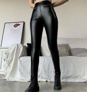 Progettista delle donne Peach natica pantaloni di pelle a vita alta stretti europee corpo e dell'unità di elaborazione ad alta elastico sexy American Style Pantaloni di pelle