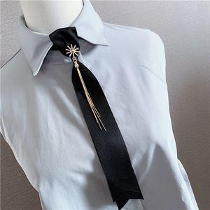 Ladies Chain Tassel Rhinestone Jewelry Lazy Tie Stewardess Shirt Striped Bow Ties Professional Dress Fake Collar Men Accessories
