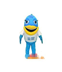 Пользовательские синий костюм талисмана рыбы бесплатная доставка