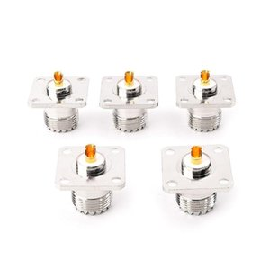 5 PCS UHF SO239 Female Flange Panel Chassis Cover Mount Adapter