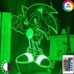 Ночник игра привела 3D звукового изможденный тактильный датчик свет изменяя цвета детского дня рождения подарка посуда свет