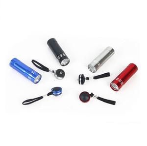 300pcs Personalized Mini Aluminium 9 LED UV Torch Ultra Violet Blacklight Detection +battery accessories