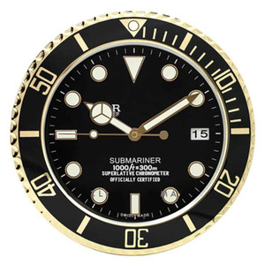 Luminous Relógio de parede na parede Relógio para Logo casa com data de Luxo Metal Wall Relógios Home Decor Grande Modern Clocks Vintage