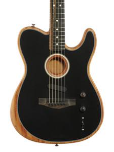 Custom Shop Acoustasonic Tele noir mat guitare électrique Polyester satin Uréthane fini, Spurce Haut Profonde C acajou Manche, matériel Chrome