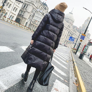 Female Warm Parka Coat Winter Autumn Jacket Long Women Glossy Down Hooded Plus Size 2020 Lady Overcoat Outwear Quilted Black