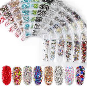 1300pcs 6sizes / sac verre plat art Bas ongles Strass AB pierres de cristal décorations nail art outils paillettes ongles en acrylique