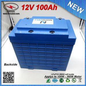 Custodia in plastica rigida 360 W agli ioni di litio LiFePO4 Batteria 12V 100Ah per EV HEV Car scooter UPS Streetlamp sistema solare SPEDIZIONE GRATUITA