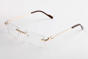 Модные Оптические Очки Без Оправы Бренд Дизайнер солнцезащитные очки для Мужчин Женщин Очки Высокого Качества Буффало Рога Сплава Ноги Очки С Коробкой