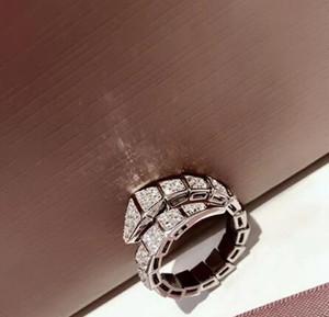 anillo de compromiso de la mujer serpiente anillo apertura de piedras preciosas en forma de joyería de las mujeres anillo de plata de ley 925 diamantes