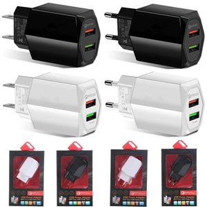 Universal 5V 2.4A Dual usb Ports QC3.0 Eu us Wall charger Auto adapter For ipad iphone 7 8 x 10 samsung htc android phone pc mp3