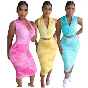 Stacked 2 Piese Sets Women Summer Suits Tie Dyed Two Piece Dress for Women Sexy Sleeveless Zipper Stand Collar