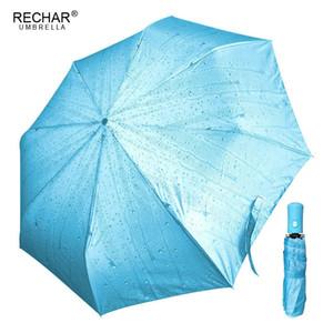 Rechar marca acqua modello automatico ombrello donna 3folding compatto antivento qualità soleggiato ombrello pioggia donne parasole t8190619