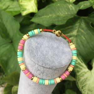 Macaron cor do esmalte, bracelete colorido do grânulo, Handmade esmalte Pulseira Pulseira Metal, Present Jóias