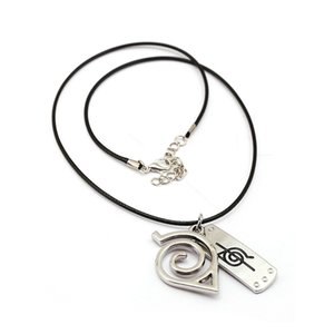 Hot sale Japanese Anime NARUTO pendant necklace Cartoon zinc alloy Forehead protection symbol toys necklace for kids and fans souvenir