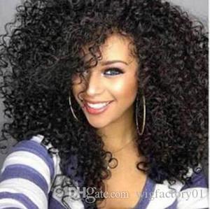 Nueva tendencia trenzado pelucas africano barato negro pequeño volumen esponjoso explosión de alta calidad de las pelucas del frente del cordón pelucas sintéticas del envío libre
