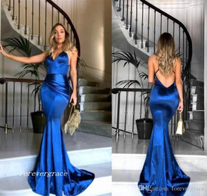 2019 Hot Sale Royal Blue Satin Mermaid Prom Dress Cheap Backless Formal Holidays Wear Graduation Evening Party Gown Custom Made Plus Size