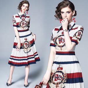 Vestido plisado con Encanto impresión de la moda Turn Down cuello Midi Señora elegante que iguala los vestidos de la playa cena de verano de vacaciones 3183