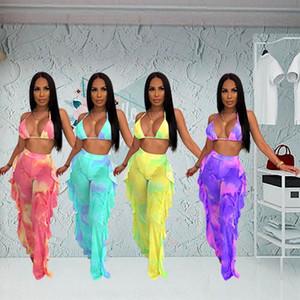 2019 mujeres del tinte del lazo conjuntos de dos piezas ROSA Galaxy Imprimir malla bikini ve sin embargo Halter Bra top Volantes de empalme chándales de los pantalones