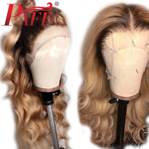 PAFF Ombre 4T27color 4 * 4 Silk Basis Volle Spitzeperücke Glueless Menschenhaar Remy Brasilianische Körperwelle Haar Silk Top PrePlucked