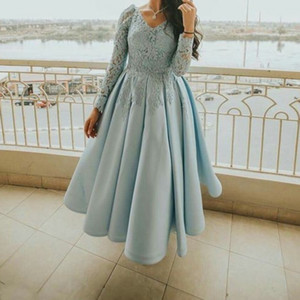 Light Blue Tea Length Party Formal Dresses 2020 With Lace Long Sleeve A-line Draped A-line Plus Size Prom Dress Evening Cocktail Gowns